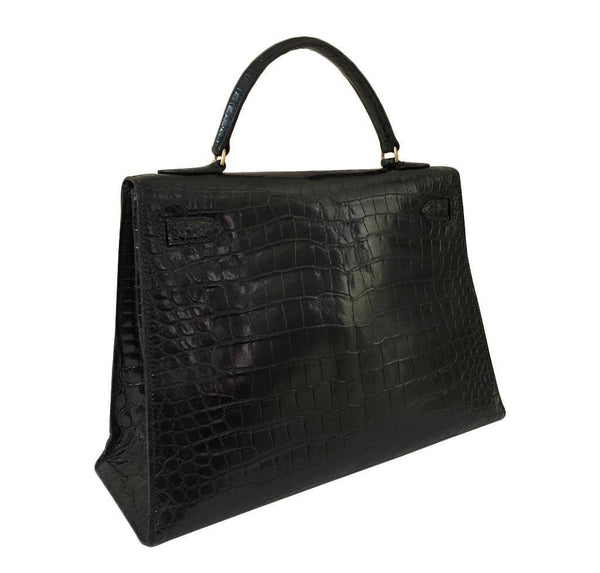 hermes kelly 32 black shiny porosus crocodile used back