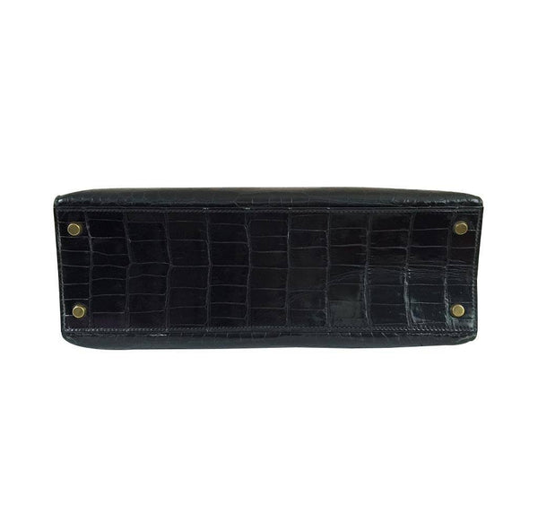 hermes kelly 32 black shiny porosus crocodile used bottom