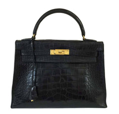 Hermes Kelly 32 Black Crocodile Bag