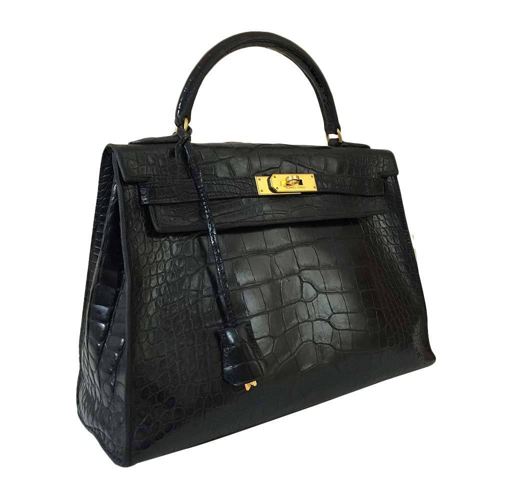 42e9ebeb78b7 ... order hermes kelly 32 black crocodile bag hermes kelly vintage 32 black  crocodile used side 0f859