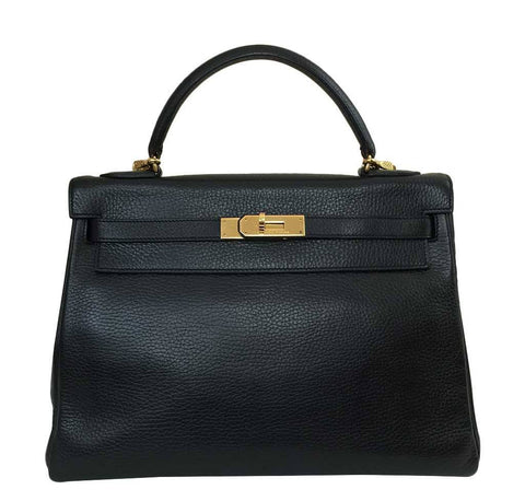 Hermes Kelly 32 Black Ardennes Bag