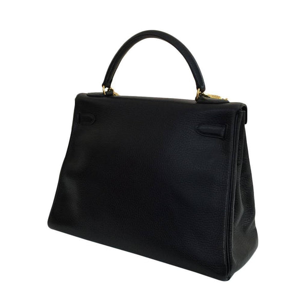 hermes kelly 32 black used back side