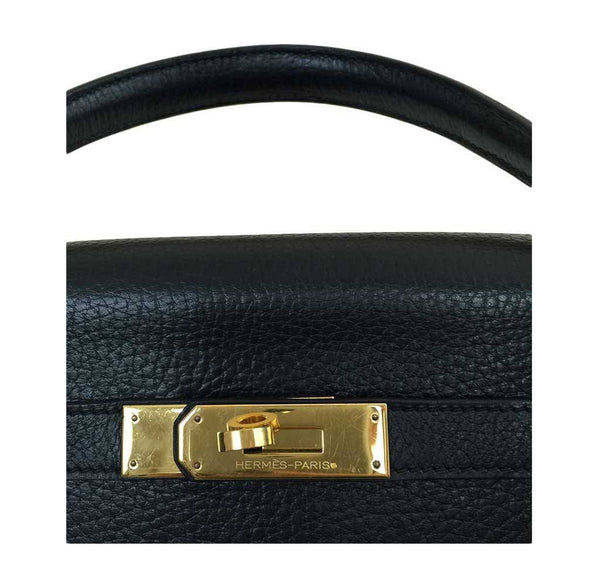 hermes kelly 32 black used engraving