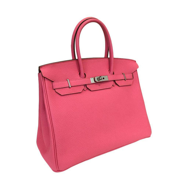 hermes birkin 35 rose lipstick used front side