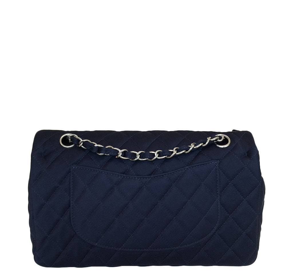f5cc74cfd19 ... chanel medium double flap navy blue limited edition used back ...