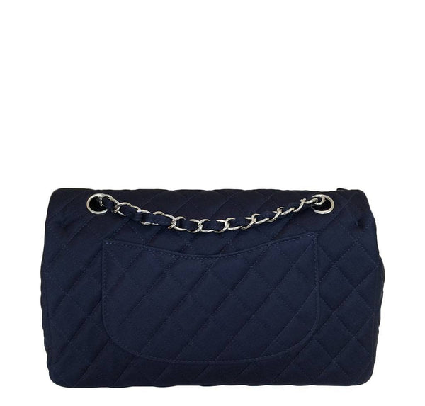 chanel medium double flap navy blue limited edition used back