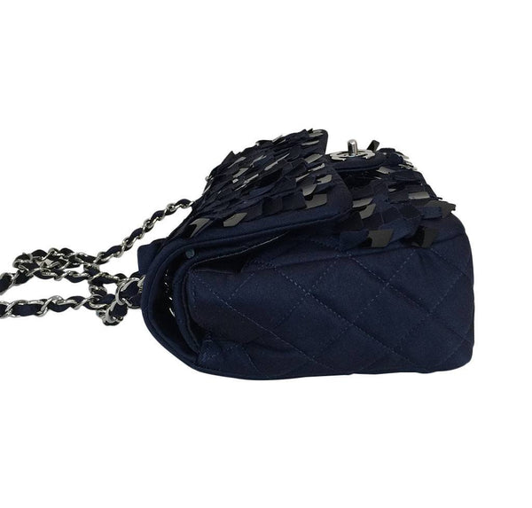 chanel medium double flap navy blue limited edition used side