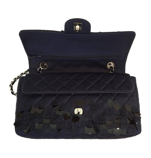 chanel medium double flap navy blue limited edition used front open