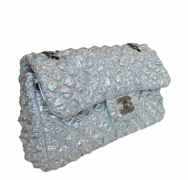 chanel double flap small silver limited edition used side