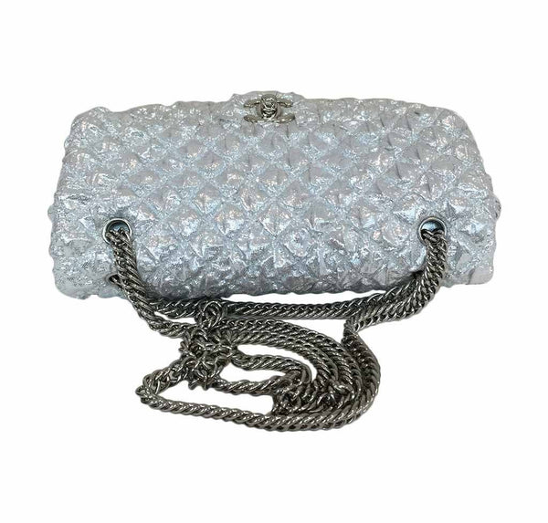 chanel double flap small silver limited edition used top