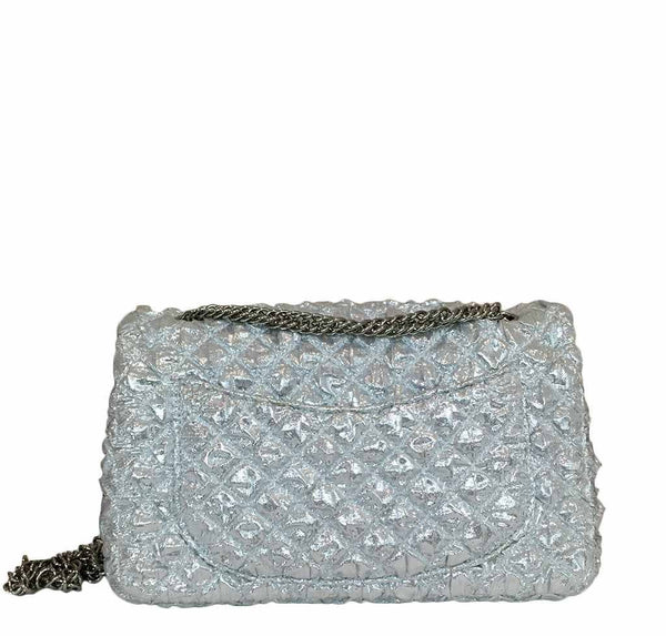 chanel double flap small silver limited edition used back
