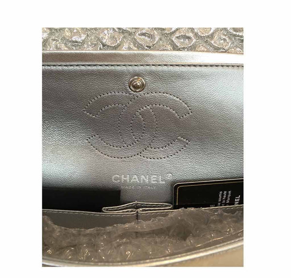 chanel double flap small silver limited edition used embossing
