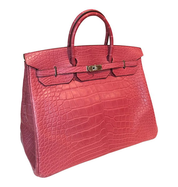 Hermes Birkin 40 Fuchsia Alligator Bag PHW pristine side