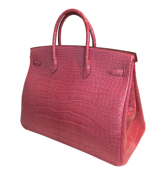 Hermes Birkin 40 Fuchsia Alligator Bag PHW pristine back