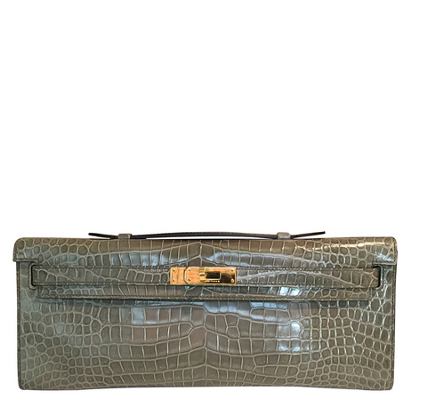 Hermes Kelly Cut Gris Tourterelle Porosus Crocodile GHW excellent front