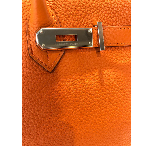 Hermes Birkin 35 Orange Togo Palladium excellent clasp
