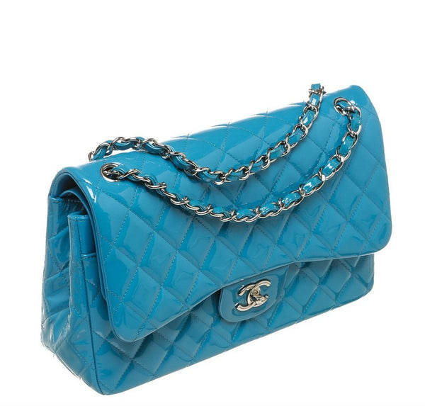 Chanel Jumbo Shoulder Flap Bag Blue Used Side