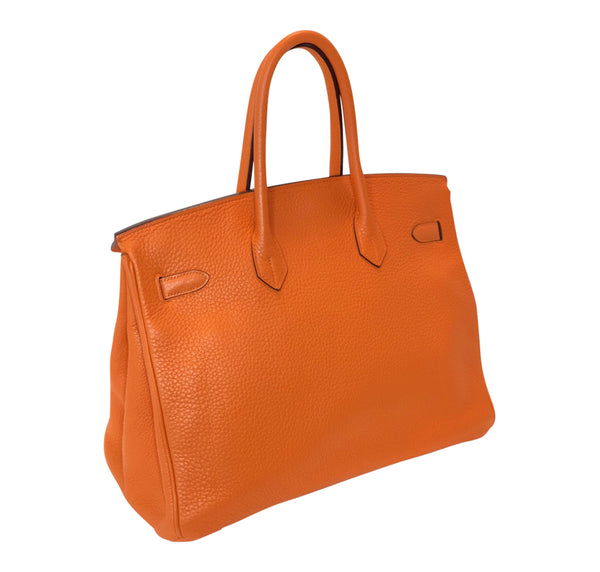Hermes Birkin 35 Orange Togo Palladium excellent back