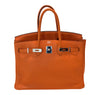 Hermes Birkin 35 Orange Togo Palladium excellent front open