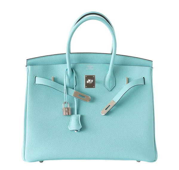 Hermes Birkin 35 Blue Atoll new front open