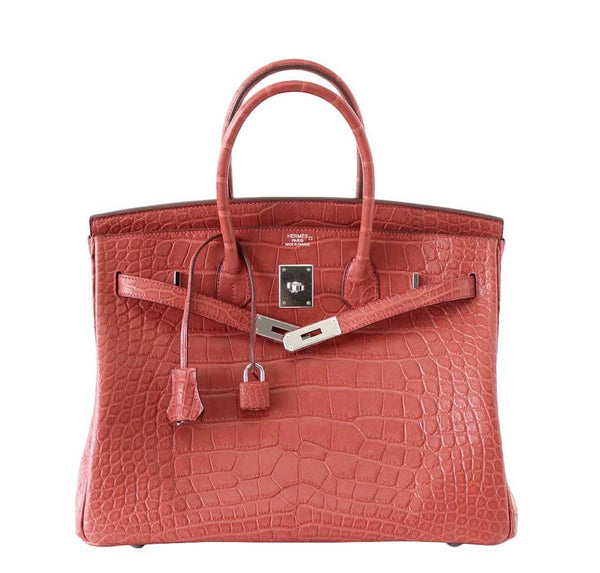 Hermes Birkin 35 Alligator Rose Indienne new front