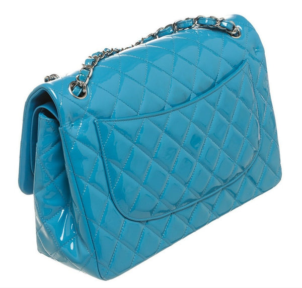 Chanel Jumbo Shoulder Flap Bag Blue Used Back