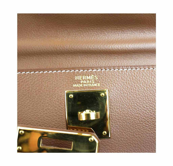 hermes kelly 32 tabac used embossing