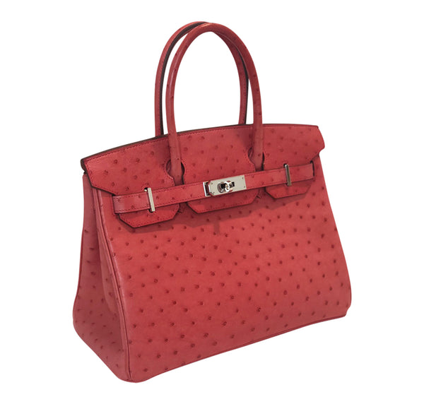 Hermes Birkin 30 Ostrich Bougainvillea Palladium very good side right