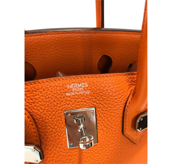 Hermes Birkin 35 Orange Togo Palladium excellent embossing
