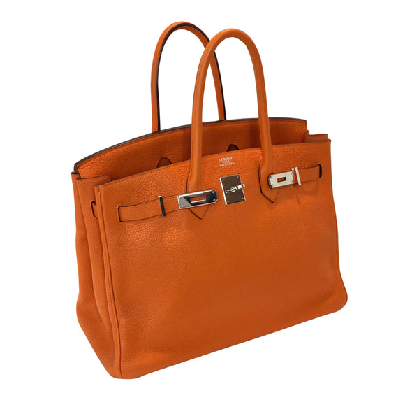 Hermes Birkin 35 Orange Togo Palladium excellent side open