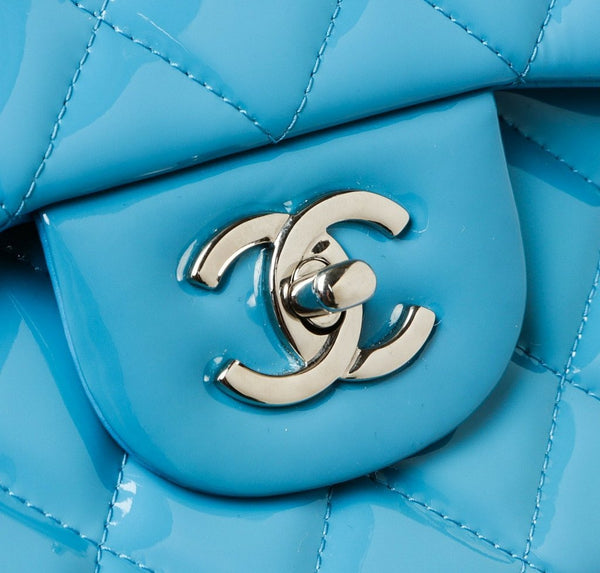 Chanel Jumbo Shoulder Flap Bag Blue Used Detail
