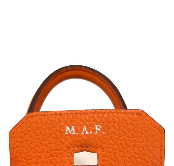 Hermes Birkin 35 Orange Togo Palladium excellent initial monogram