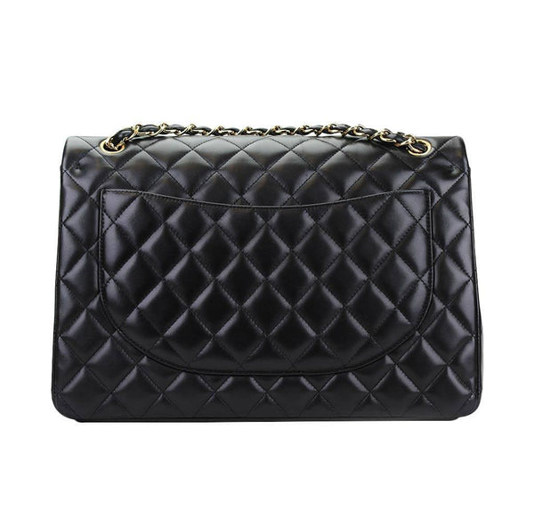 chanel maxi double flap shoulder bag black used back