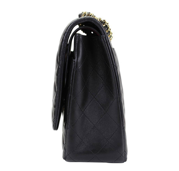 chanel maxi double flap shoulder bag black used side