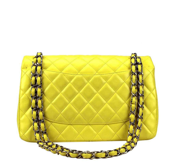 chanel double flap jumbo yellow used back