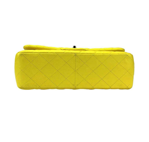 chanel double flap jumbo yellow used bottom