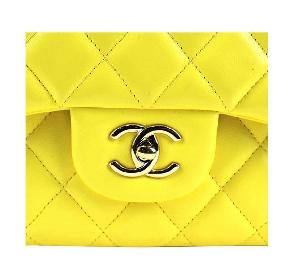 chanel double flap jumbo yellow used closure