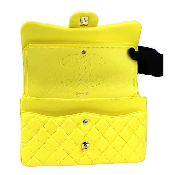 chanel double flap jumbo yellow used open