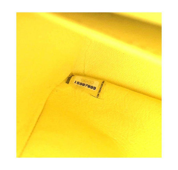 chanel double flap jumbo yellow used detail