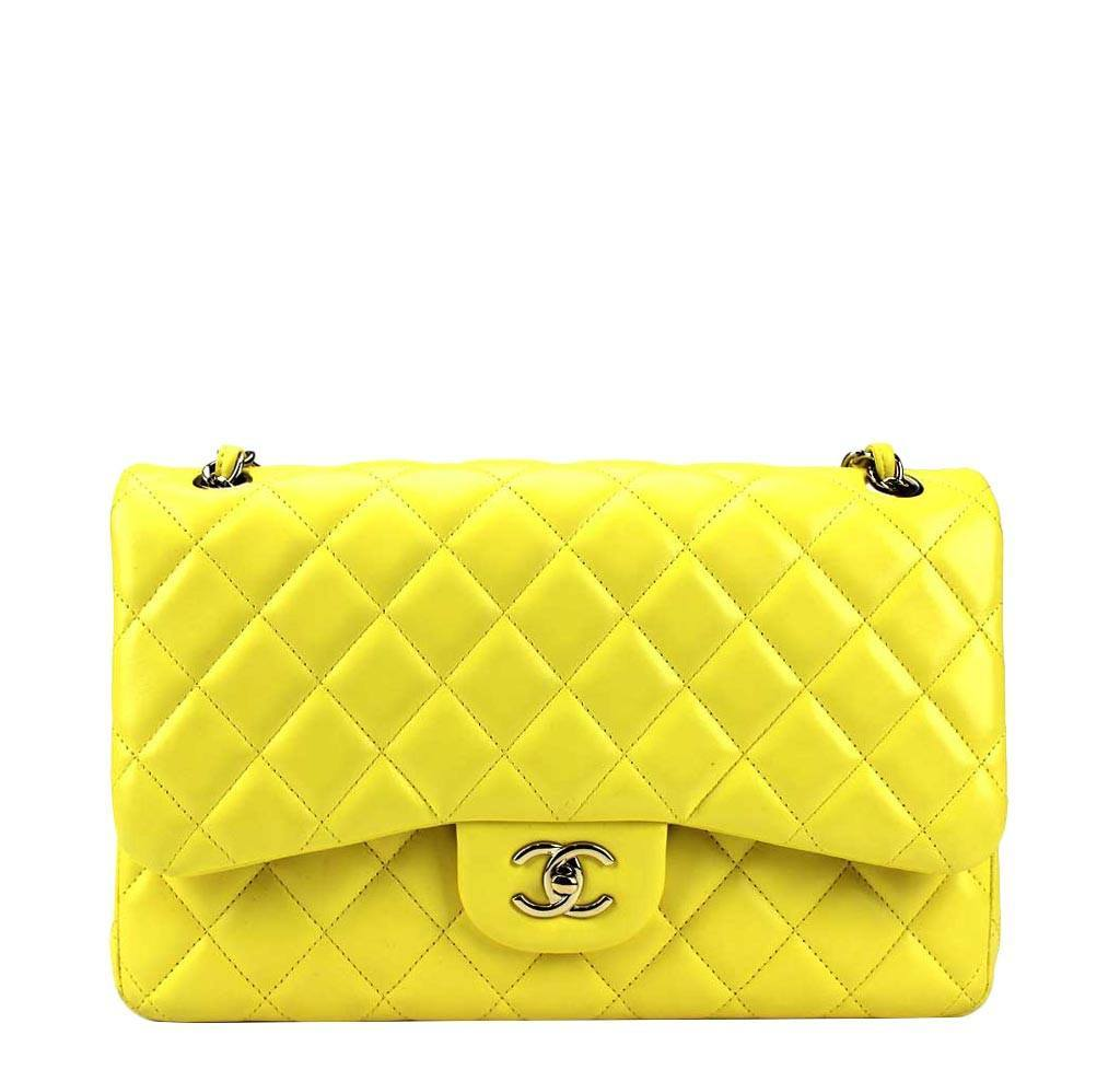 da504e2240cb Chanel Double Flap Jumbo Bag Yellow - Lambskin Leather | Baghunter