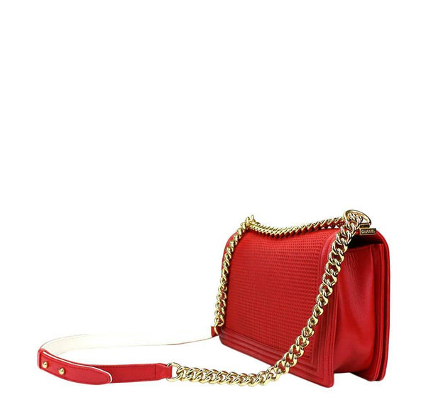 chanel boy cube bag red used back