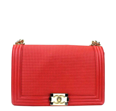 Chanel Red Boy Bag Lambskin