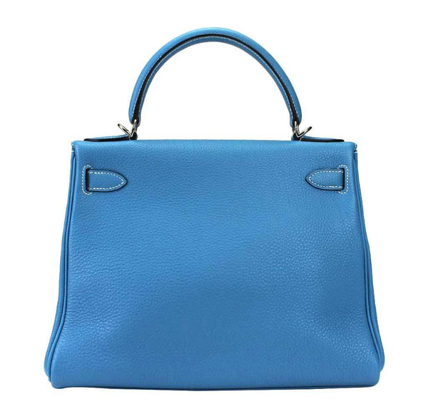 hermes kelly 28 blue jean used back