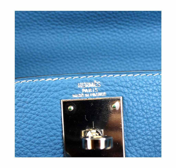 hermes kelly 28 blue jean used embossing