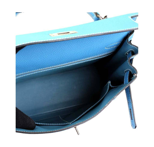 hermes kelly 28 blue jean used inside