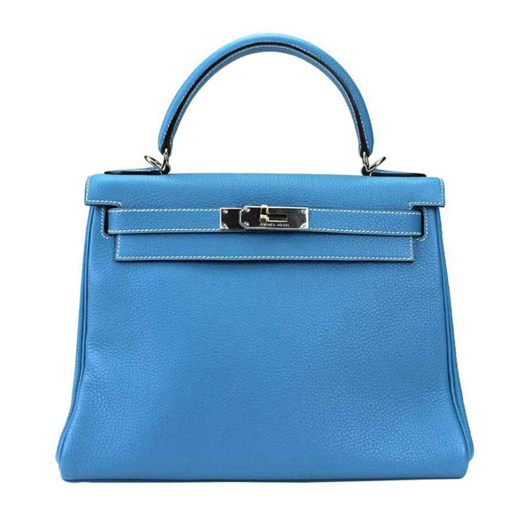 Hermes Kelly Blue Togo Bag Palladium