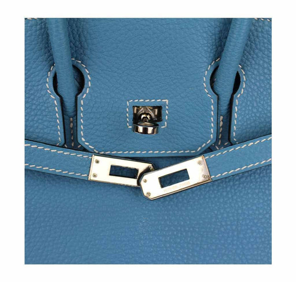 hermes birkin 25 blue jean used detail
