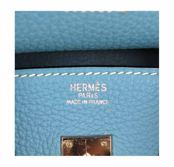 hermes birkin 25 blue jean used embossing