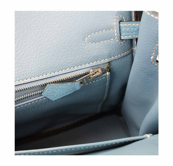 hermes birkin 25 blue jean used inside