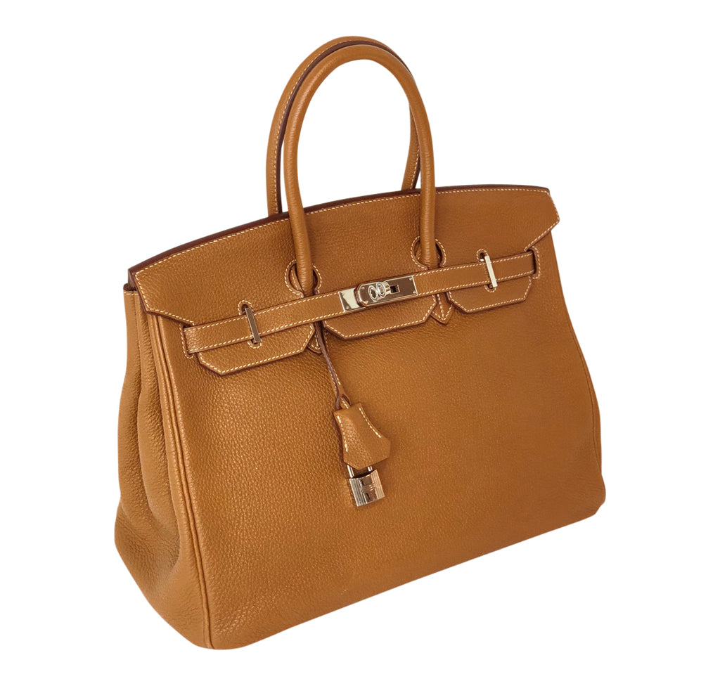 b40758ac61b06 ... Hermes Birkin 35 Bag Gold Togo Palladium very good front side ...
